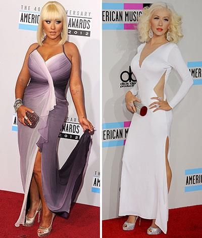 Christina Aguilera in November 2012 and November 2013.