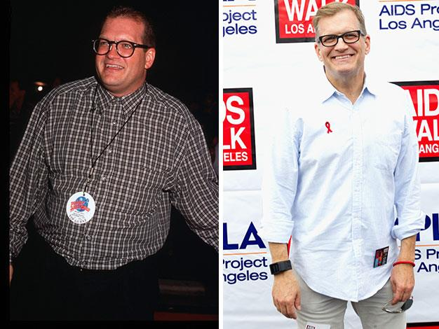 Funnyman Drew Carey in September 1995 and October 2013.
