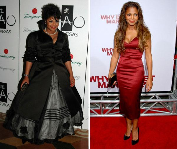 Janet Jackson is another yo-yo dieter. Here she is in 2005 and 2007.