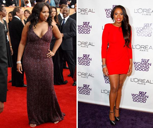 Jennifer Hudson in January 2007, and looking super-svelte in September 2011 year.