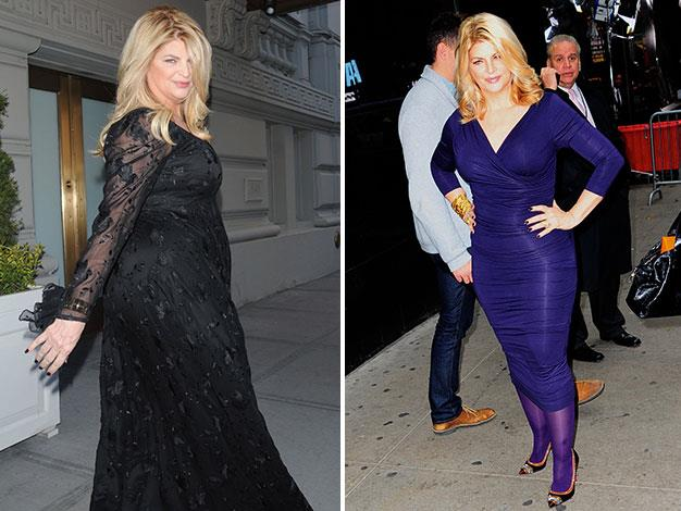 Kirstie Alley in 2010 and looking super-svelte this month.