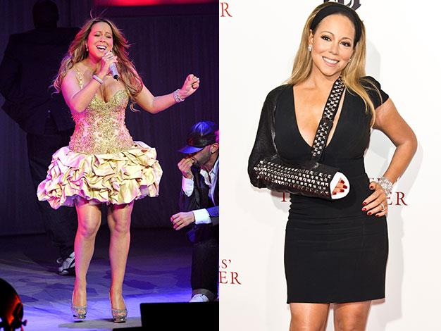 Mariah Carey in February 2010 and August 2013.