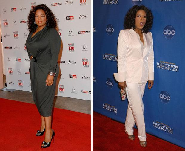 Oprah Winfrey has also struggled with her weight. Here she is in 2008, and 2010.