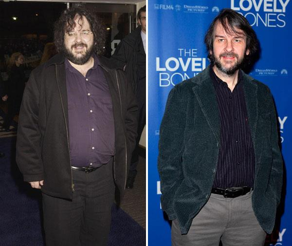 Director Peter Jackson in 2002, and almost unrecognisable in 2009.