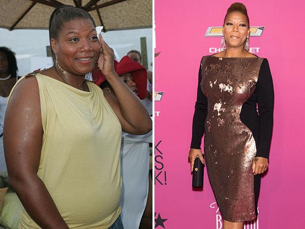 Queen Latifah in 2004 and in October 2013.