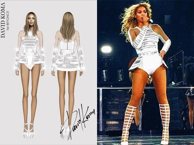 Designer David Koma's sketch of Beyonce is quite different to the real thing.