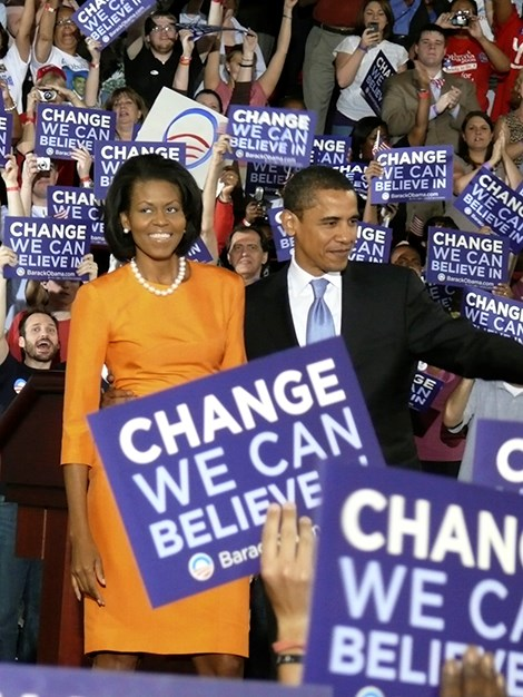 Michelle campaigns with her husband in May, 2008.