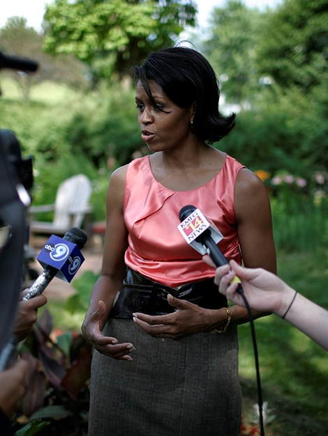 Michelle Obama campaigns on behalf of her husband for the Democratic presidential nomination in June 2007.