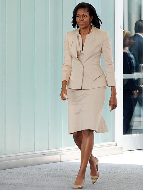 The US First Lady  as she arrives at a Youth event in Chicago in 2012.