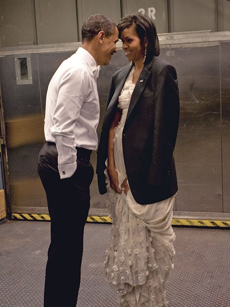 President Barack Obama And First Lady Michelle Obama share a tender moment after the ball.
