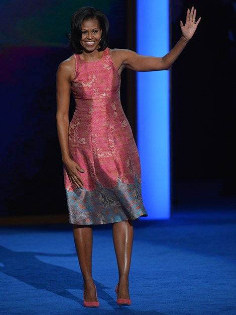 The President's wife delivering a speech at the Democratic National Convention in North Carolina, 2012.