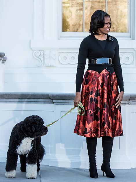 Michelle Obama with the official White House dog, Bo.