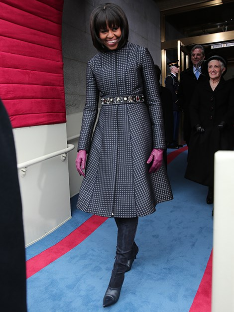 First lady Michelle Obama looks chic as she arrives for the swearing in ceremony in January, 2013.