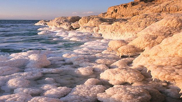 Salt formations on the shores of the Dead Sea.
