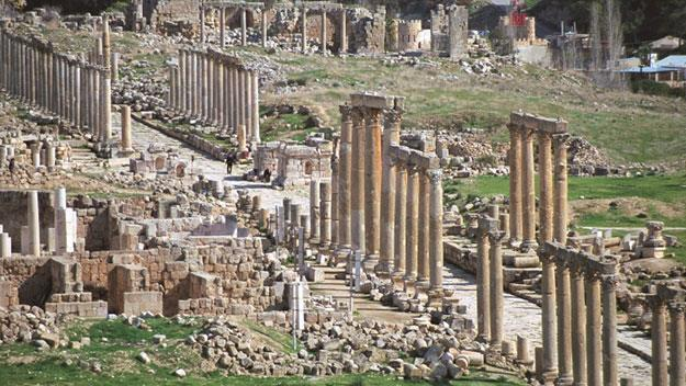 The colonnade at the Roman city of Jerash.