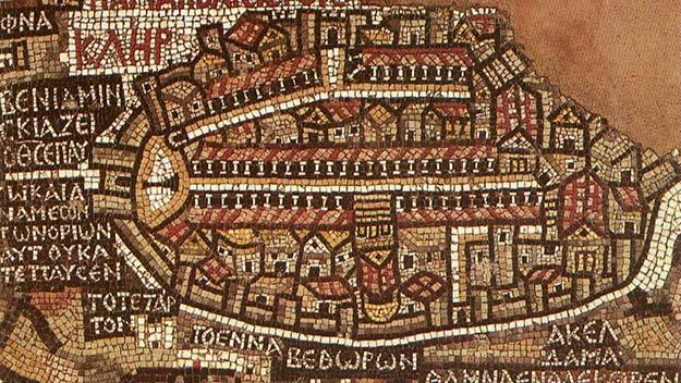 A detail of the 6th century Mosaic Map at the Greek Orthodox Church of St George.