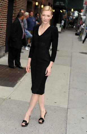 Cate spotted in July showing off her fabulous figure in a fitted LBD in New York.