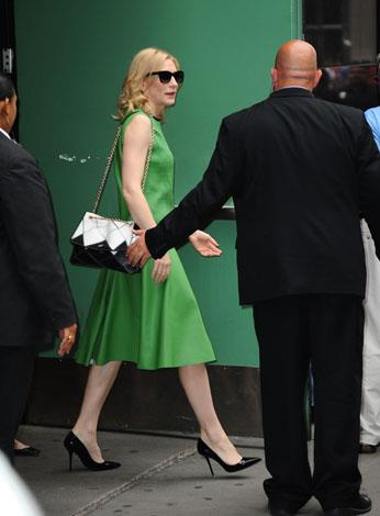 Green with envy: the actress wore a green retro cut dress for her appearance on 'Good Morning America' in July.
