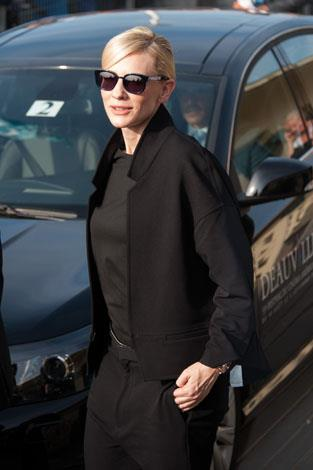 Superstar rocking some chic shades: Cate looks every bit the famous actress in this black-on-black-on-black ensemble.
