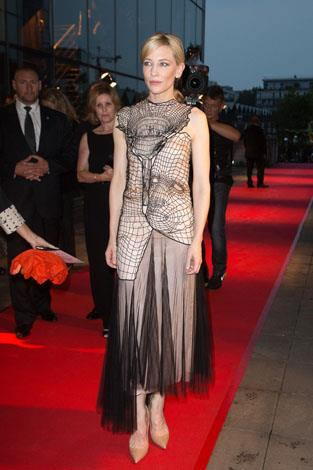 Cate channels her inner goth in this edgy woven wonder she wore to the Paris premiere of Blue Jasmine in August.