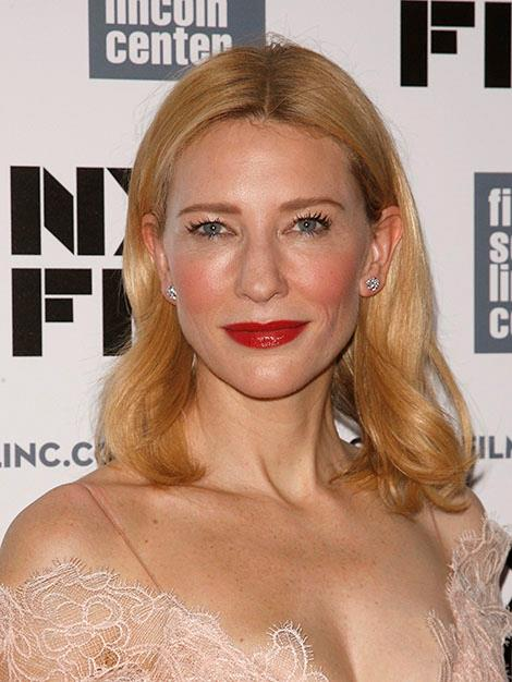 Cate shows off her flawless skin.