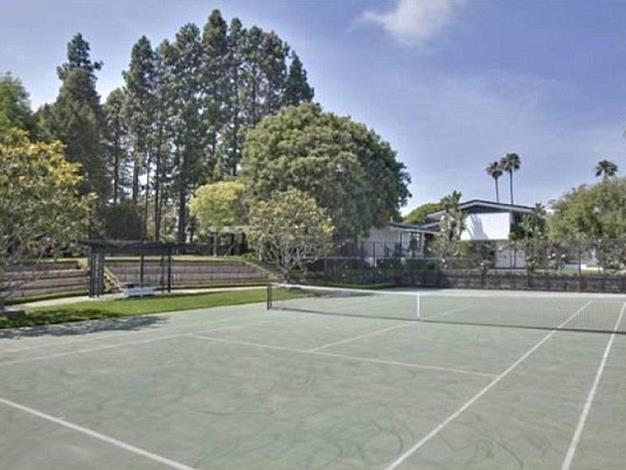 The house's impressive tennis courts.
