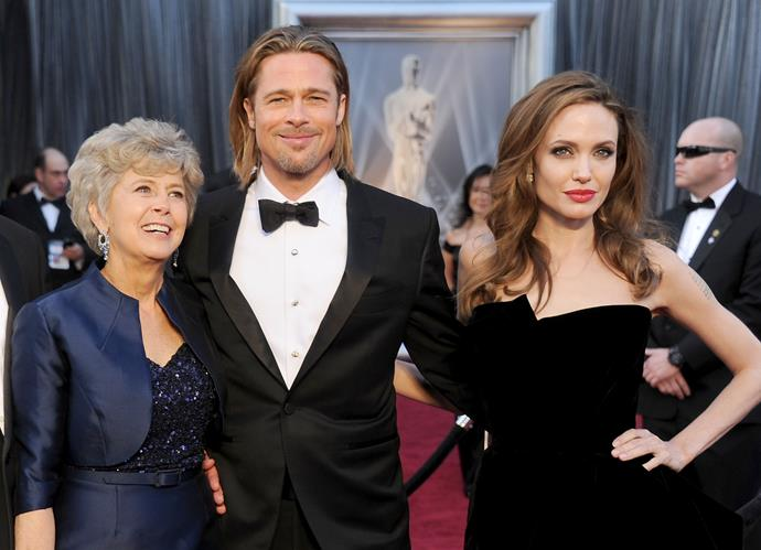 **Brad Pitt** on the red carpet with his two leading ladies: mum Jane and Angelina Jolie.