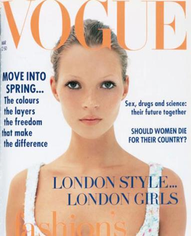 Kate debuted on the March 1993 cover of British Vogue photographed by Corinne Day. She has since starred on 33 Vouge UK covers and is set to become the magazine's contributing fashion editor.