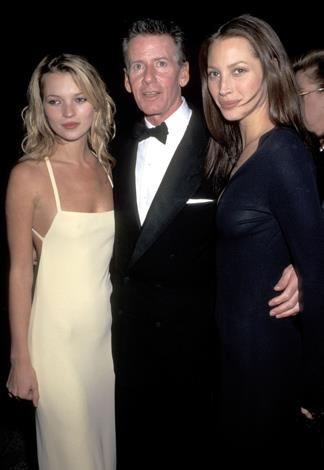 Kate Moss with Calvin Klein and Christy Turlington. The British model was a CK favourite and fronted the brand for several major campaigns including her the famous underwear shoot with Michael Wahlberg.