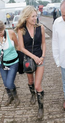 Kate's hot pants/gumboots combo are now considered festival uniform for all female festival attendees.