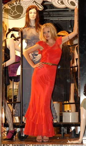 Moss as a mannequin: Kate Moss for Topshop Launch at Topshop Oxford Circus in London 2007.