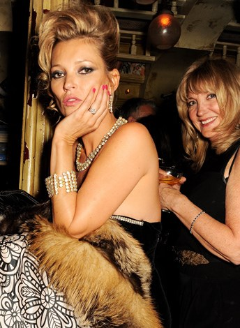 Kate Moss and her mother Linda Moss attend Fran Cutler's surprise birthday party in London in April.