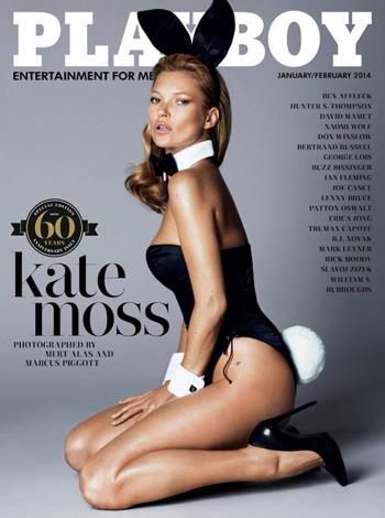 39-year-old Kate posed nude in Playboy's 60th Anniversary addition. The supermodel, photographed by Mert and Marcus, helped create one of the magazines most iconic covers ever.