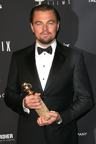 Leonardo with his Golden Globe for The Wolf of Wall Street.