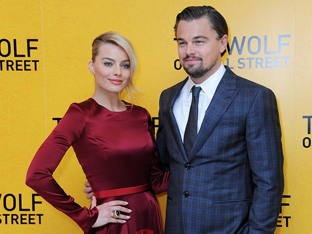 With his The Wolf of Wall Street co-star Margot Robbie.