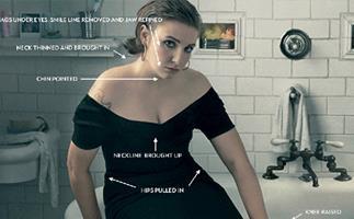 Lena Dunham marked up for retouching, courtesy of Jezebel.