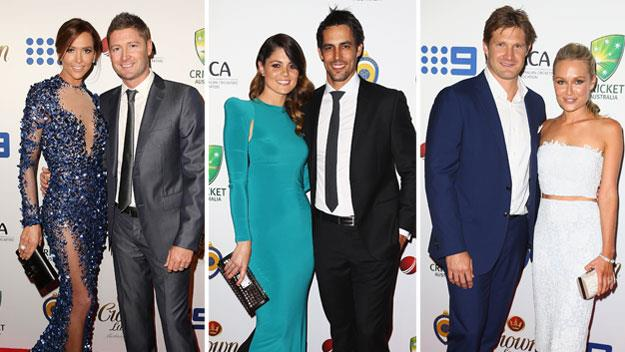 Michael and Kyly Clarke, Mitchell and Jessica Johnson and Shane and Lee Watson. Image: Getty.