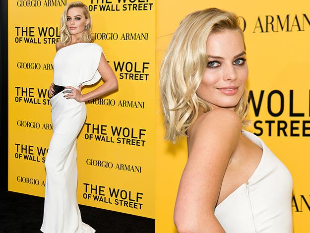 The Gold Coast beauty wore a white Armani Prive gown to the The Wolf Of Wall Street premiere in New York in December.