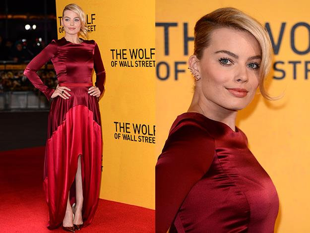 Margot sizzled in this ruby red Oscar de la Renta for The Wolf's London premiere.