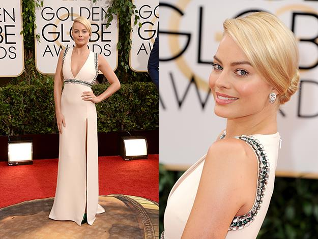 Margot chose a bejewlled white Gucci gown for the Golden Globe Awards in LA.