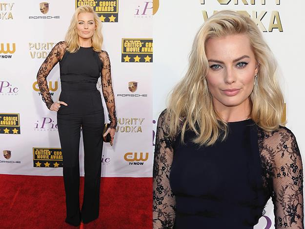 The Australian starlet wore a flattering fitted black jumpsuit with lace sleeves to the Critics Choice Movie Awards.