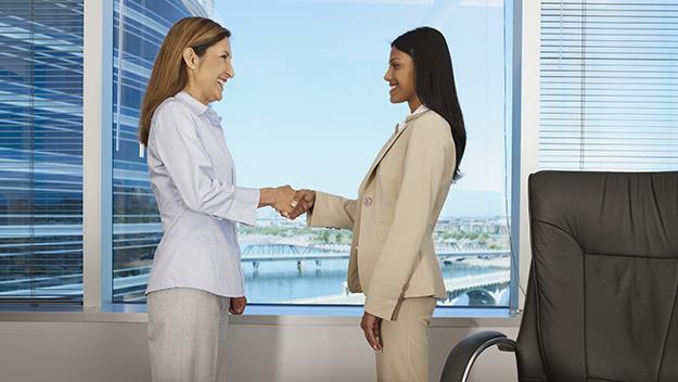 Women shaking hands in office