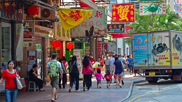 Vibrant colour in the signage brightens up Hong Kong's busy streets.