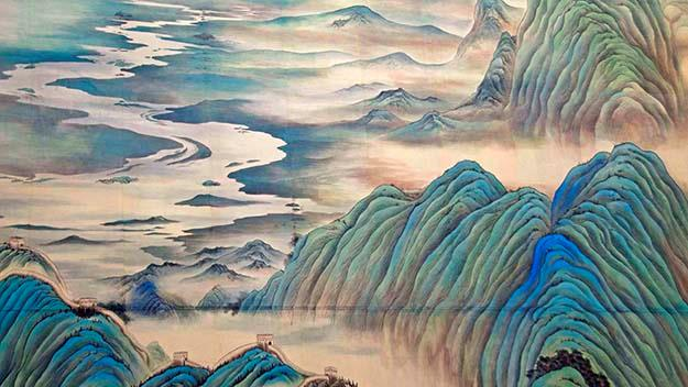 "A detail of the Shangri La Hotel's 16-storey ""Great Motherland of China"" silk painting."