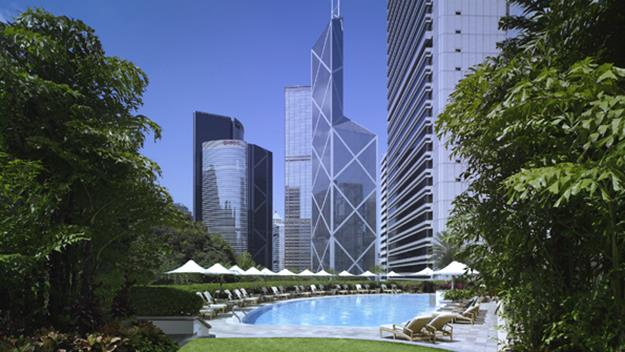 Central's gleaming skyline from the pool of The Hong Kong Island Shangri La Hotel.