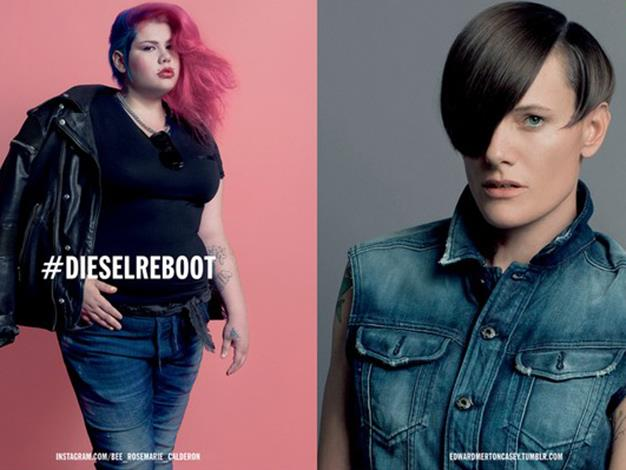 Diesel's Reboot campaign featured a plus-size punk girl and an androgynous former Olympic swimmer.
