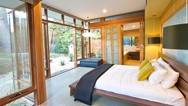 The bedroom in Sticky Rice's Japanese villa.