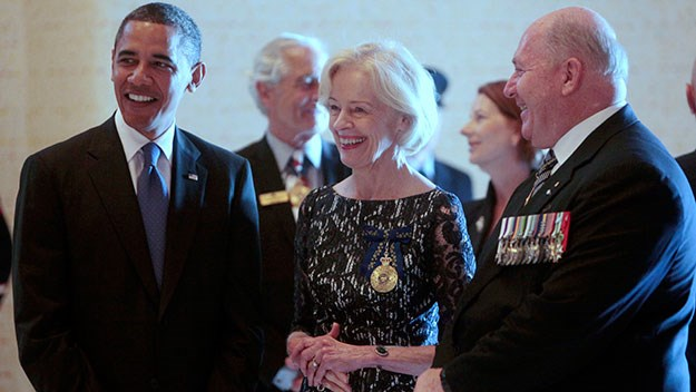 Quentin Bryce with US President Barack Obama and General Cosgrove in 2011
