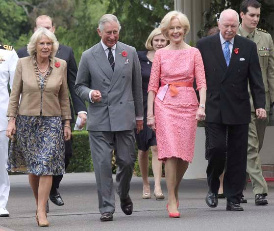 She was pretty in pink lace with Prince Charles and Camilla in 2012
