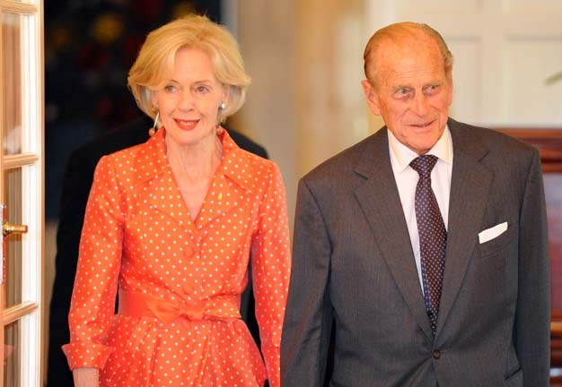 The Governor-General opted for polkadots to greet Prince Philip in 2011
